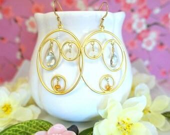 Triple gold hoop chandelier green amethyst earrings, gold hoop dangle green orange earrings