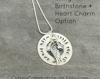 With Brave Wings She Flies Washer Pendant with Charms - Hand Stamped Jewelry