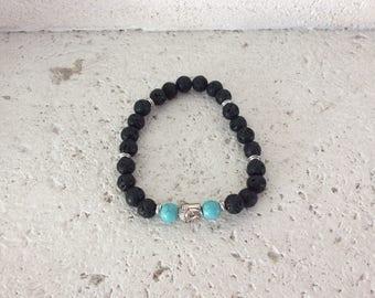Turquoise and lava stone bracelet