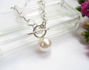 Chunky Pearl Necklace, Big Pearl Pendant in Silver, Toggle Clasp Necklace, White Pearl