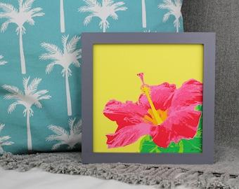 Tropical Flower Screen Print, Hibiscus Flower Screenprint, Square Screenprints, Hawaiian Art Print, Tropical Art Print, Floral Art Print
