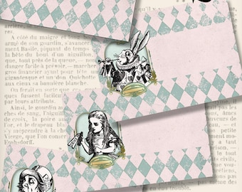 Alice in Wonderland Envelopes paper crafting diy white rabbit hatter digital download instant download digital collage sheet - VDENAL1387