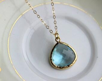 Blue Aquamarine Necklace Gold Plated Large Aqua Pendant - Gold Filled Chain - Wedding Jewelry - Bridesmaid Jewelry - Something Blue
