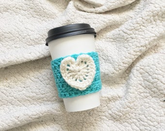 coffee cup cozy. crochet cozy. aqua and white cozy. blue cup cozy. gifts for BFFs. heart coffee cozy. cup warmer. ecofriendly gift.