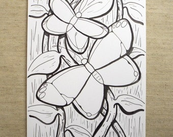 Pen and ink illustration, Butterfly Art, Black and White, Nature Art, Line Art, Surreal Art, Graphic Art, Original Art, Small Art, 6x9 inch