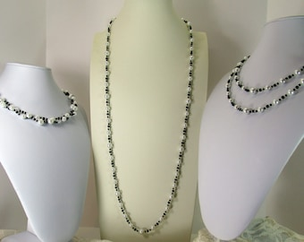 Teen White Pearl, Black Eternity Necklace; White & Black Multi Strand Necklace; White Pearl, Black Choker; White Pearl, Black 3 styles in  1