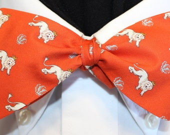 LION REX Bow Tie: Made from Liberty of London color saturated cotton ORANGE tie for well dressed men and women.