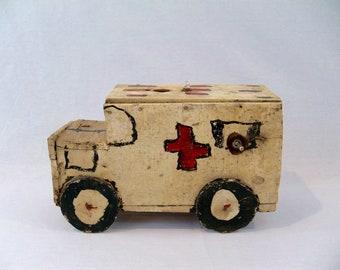 Vintage Folk Art Handmade Ambulance