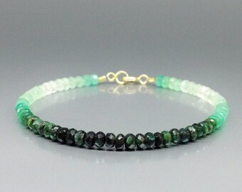 Ombre bracelet with shaded Emerald and 14K gold clasp - gift idea - green and white - genuine precious gemstone - fine jewelry - design