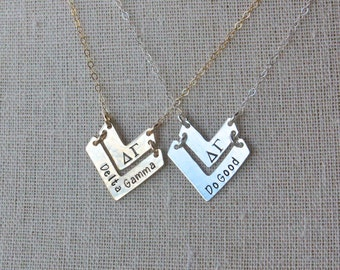 Chevron Necklace Sorority Chevron Necklace - Sorority Necklace Gold Chevron Silver Chevron Sorority Jewelry Big Sis Little Sis Gift