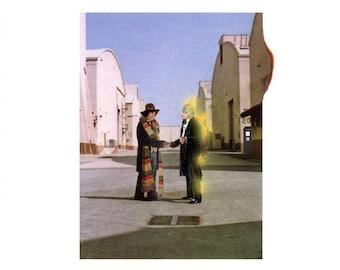Doctor Who (Tom Baker Jon Pertwee)  /Pink Floyd Wish You Were Here  'Vinyl Record Album Cover' Mash Up Parody Art Print