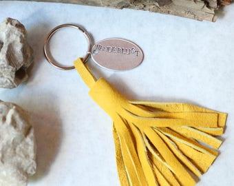 Best Man Bridesmaid Gift Key Chain Leather Tassel Hand Stamped Custom