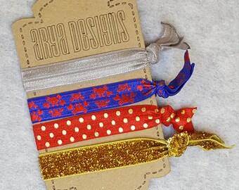 Creaseless Elastic Hair Ties, Hair Tie Bracelets, BridesMaid Gifts, Party Favors, Crab, Blue & Red, Nautical, Ocean, Seaside, Gold Set of 4