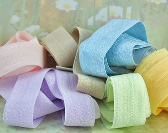 Elastic Fold Over Stretch Ribbon for hair ties Sets 2 ft 6 colors foe for head bands Pastel yellow light purple pink blue brown green