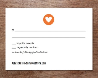 Printable RSVP Card - Response Card Download - Instant Download - RSVP Template - Response Card - Heart Circle - Simple Heart rsvp card