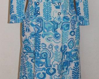 Vintage 1960's D.L. Barron Blue and White Geometric Dress