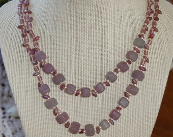 Two-strand Purple and Pink Glass Bead Neclace