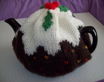 Christmas Pudding tea cosy for standard size tea pot. Chunky knit