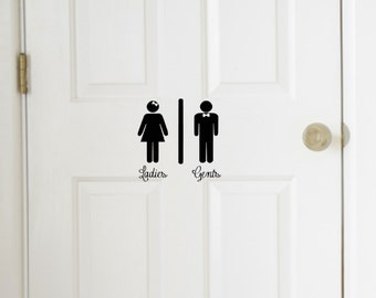 Ladies and Gents Restroom Vinyl Decal, Mens, Womens Bathroom Decal