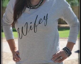 Wifey Long Sleeve Shirt, Wifey Shirt, Bridal Shower Gift, Wedding, Bride Shirt, Bachelorette Gift, Mrs. Bride To Be Classy Fitted Shirt