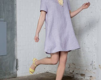 Lavender casual oversized dress - Eco friendly hemp clothing - Pastel clothing