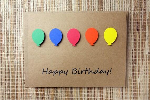 Happy birthday balloon card kraft card 5x65 inch 3d balloon like this item bookmarktalkfo Choice Image