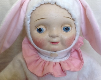 Antique style Googly Bunny Rabbit Doll by The Little Hamptons.