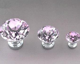 Pink Crystal Knobs Silvertone / Dresser Drawer Knobs Pulls Handles Sparkle Cabinet knobs / Funiture Cabinet Door Handle Pull Knob Hardware