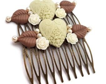 Heart Hair Combs-Neutral Hair Combs-Set of 2-Wedding Hair Combs-Heart Bobby Pins-Heart Hair Clips-Heart Hair Slides-Heart Fascinator-Floral