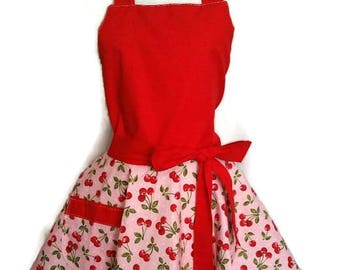 Flirty Apron, Cute Red Cherry apron for women with pocket, bridal shower gift, Mother's Day gift, wedding gift, gifts for mom