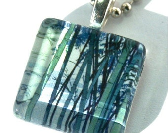 Glass Tile Pendant Image of Bamboo Trees Blue Green Asian Painting