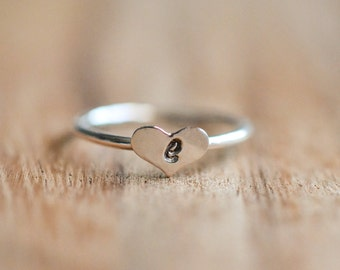 Sterling Silver Initial Stacking Ring // Silver Initial Heart Ring // Sterling Silver Letter Ring // Personalized Silver Ring