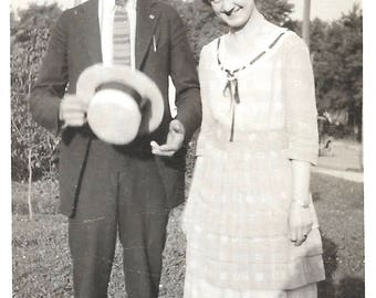 "Vintage Snapshot ""Bashful Beau"" Handsome Man With Straw Boater Hat Smiling Young Woman 1920's Found Vernacular Photo"