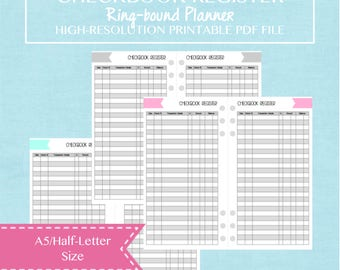 A5 Half Letter Size Checkbook Register Printable Planner Insert - Budget and Finance - 10 Pages - Shabby Chic Cover Design - ENGLISH
