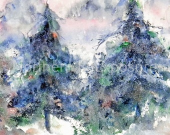 WATERCOLOR, PRINT, Pine Trees, 'Winter Pines', Giclee Print, Fine Art,  Home Decor