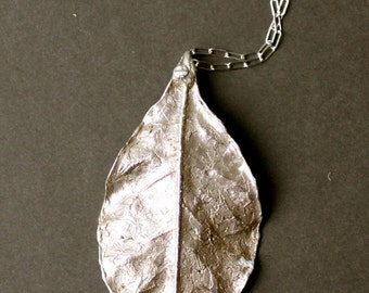 Large sterling silver leaf pendant, lef pendant, leaf jewelry, silver leaf, nature jewelry, large leaf