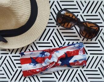"Patriotic USA Flag Turban Headband, Women's, Girls, Baby, ""Gifts for Her"", Twist Headband, 4th of July"