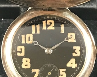Rare Antique Rolex Military Hooded Sterling Silver Trench Watch