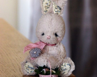 Artist teddy - Soft toy bunny Bebé - OOAK teddy - Baby shower gift - Easter gift - Baby shower decorations - Stuffed toy - Plush bunny