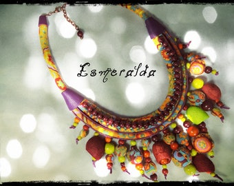 SOLD - necklace ESMERALDA - 3 rows of predominantly yellow and orange fabric, batting covered with the same fabric and genuine balls