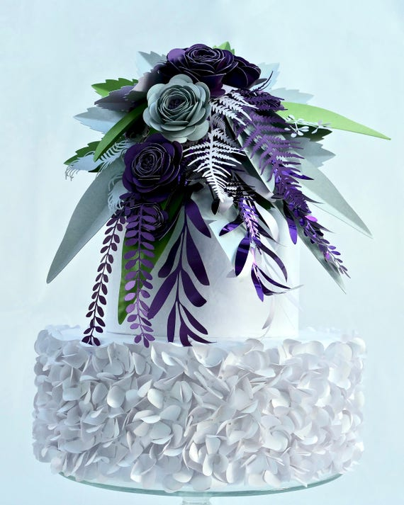 Paper Flower Bouquet featuring flowers and foliage in ultraviolet, purple, lilac, silver and green