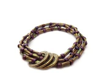 Seed Bead Bracelet - Multi Strand Layering Bracelet - Purple Green Metallic Beads - Friendship Bracelet - Bohemian Jewelry