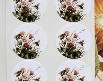 Stickers Bees Flowers Envelope Seals Wedding Party Favor Treat Bag Stickers SP048