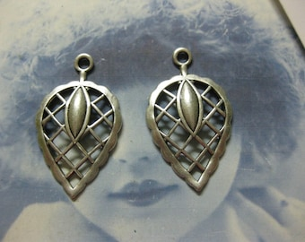 Sterling Silver Ox Plated  Leaf Stampings 767SOX x2