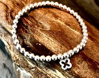 Quatrefoil Crystal Sterling Silver Stretch Bracelet