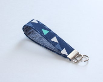 Navy Triangle Keychain, Fabric Key Fob in Navy Geometric and Linen, Navy Triangle Wristlet Strap - PREORDER