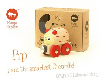 Wooden toy train Pip from 'The Groundies' series - fits standard Brio wooden railway