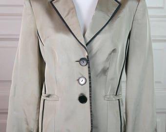 British Vintage Silver Blazer Women's, Silver Black Jacket, Silk-Look Blazer, Smart Elegant Blazer, Schoolboy Look: Size 14 US, 18 UK