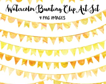 Yellow Watercolor Bunting Clip Art, Instant Download, Yellow Clipart Bunting, Bunting Banner Clip Art, Commercial Use