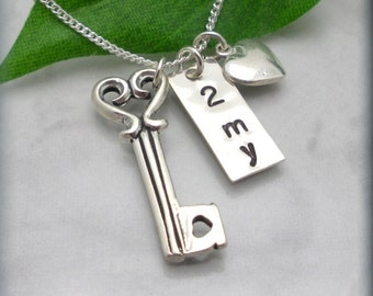 Key to My Heart Necklace, 925 Sterling Silver, Heart Jewelry, Handstamped, Key Necklace, Gift for Her